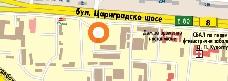 местоположението на офиса на Униглас автостъкла в Пловдив се указва от оранжево кръгче с бял център в близост до Цариградско шосе и ботаническа градина